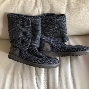 Ugg Knit Boots In Gray - Size 6
